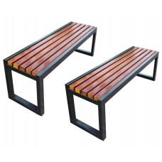 Set 2 banci terasa/gradina, structura metal, sezut din lemn