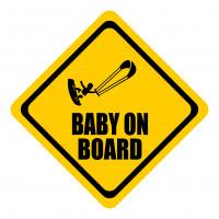 Sticker auto, Baby On Board, culoare neagra, fond galben