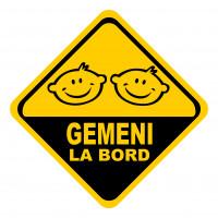 Sticker auto, Gemeni la Bord, galben-negru