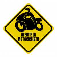 "Sticker auto, ""Atentie la Motocilisti!"", culoare negru, fond galben"