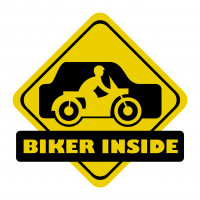 """Sticker auto, """"Biker Inside"""", culoare negru, fond galben"""