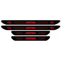 Set stickere praguri Opel Astra, negru - rosu, sticker decorativ