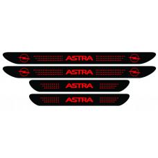Set stickere praguri Opel Astra, negru - rosu, sticker decorativ