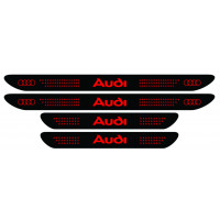 Set stickere praguri Audi, negru - rosu, sticker decorativ