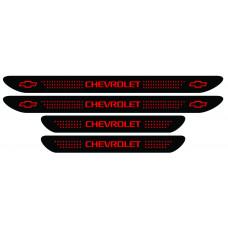 Set stickere praguri Chevrolet, negru - rosu, sticker decorativ