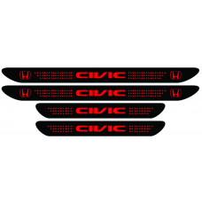 Set stickere praguri Honda Civic, negru - rosu, sticker decorativ