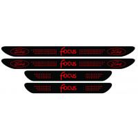 Set stickere praguri Ford Focus, negru - rosu, sticker decorativ