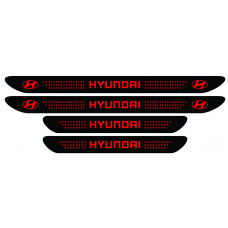 Set stickere praguri Hyundai, negru - rosu, sticker decorativ