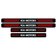 Set stickere praguri Kia Motors, negru-rosu-alb, sticker decorativ