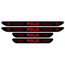 Set stickere praguri Polo, negru - rosu, sticker decorativ